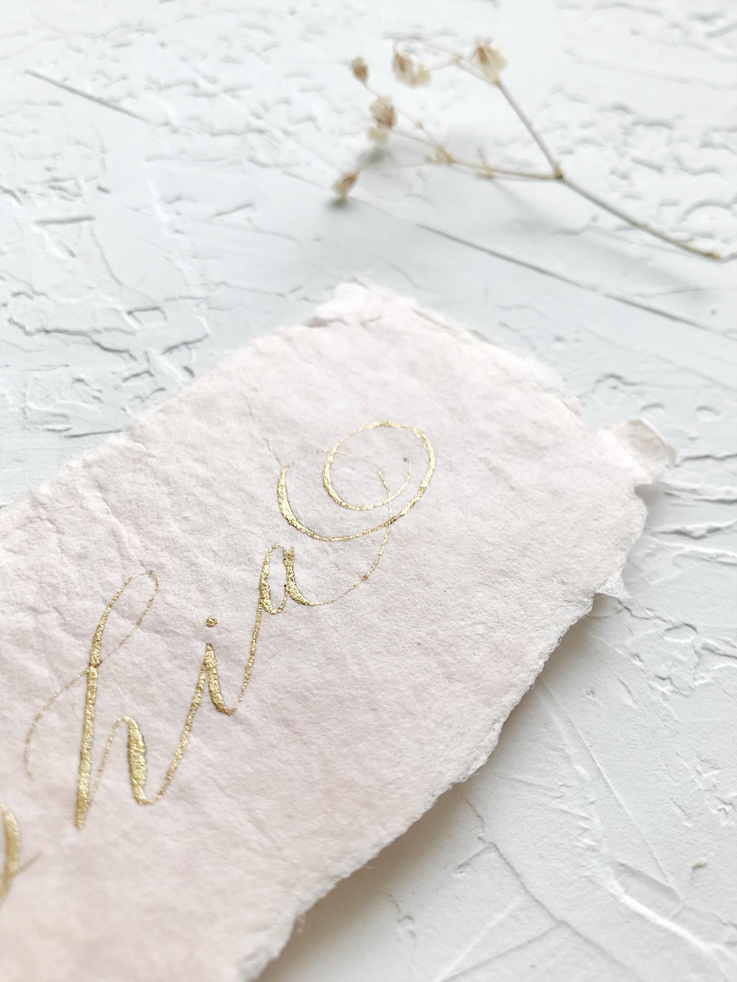 Heirloom Bookmark on handmade paper. Gold Ink and Hand died Silk Ribbon - Esperanza Atelier Fine Art Calligraphy. Houston calligrapher.