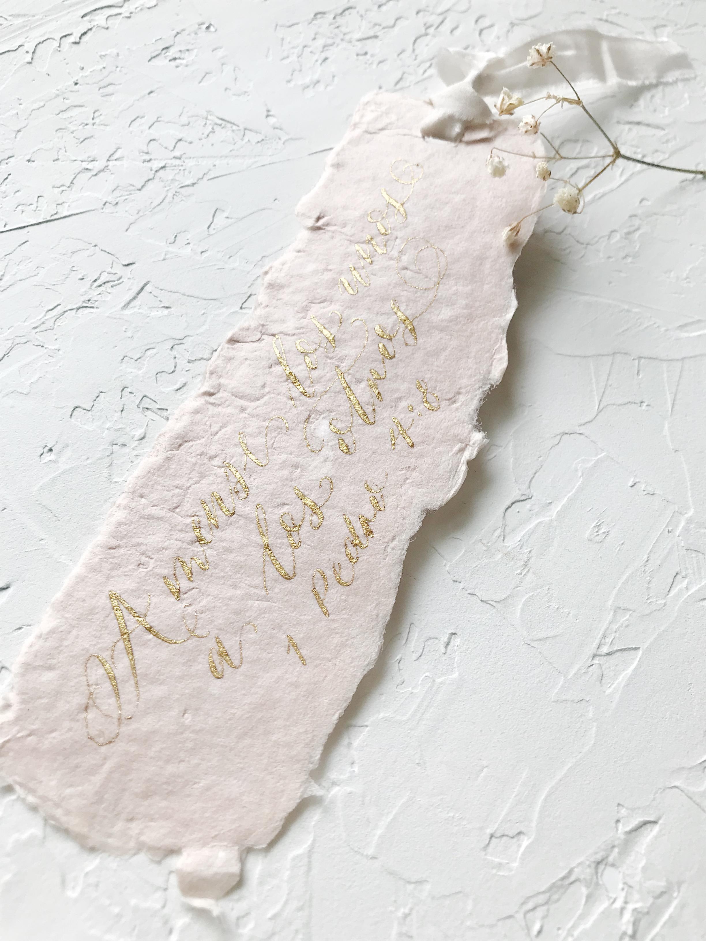 Heirloom Bookmark on handmade paper. Gold Ink and Hand died Silk Ribbon - Esperanza Atelier Fine Art Calligraphy