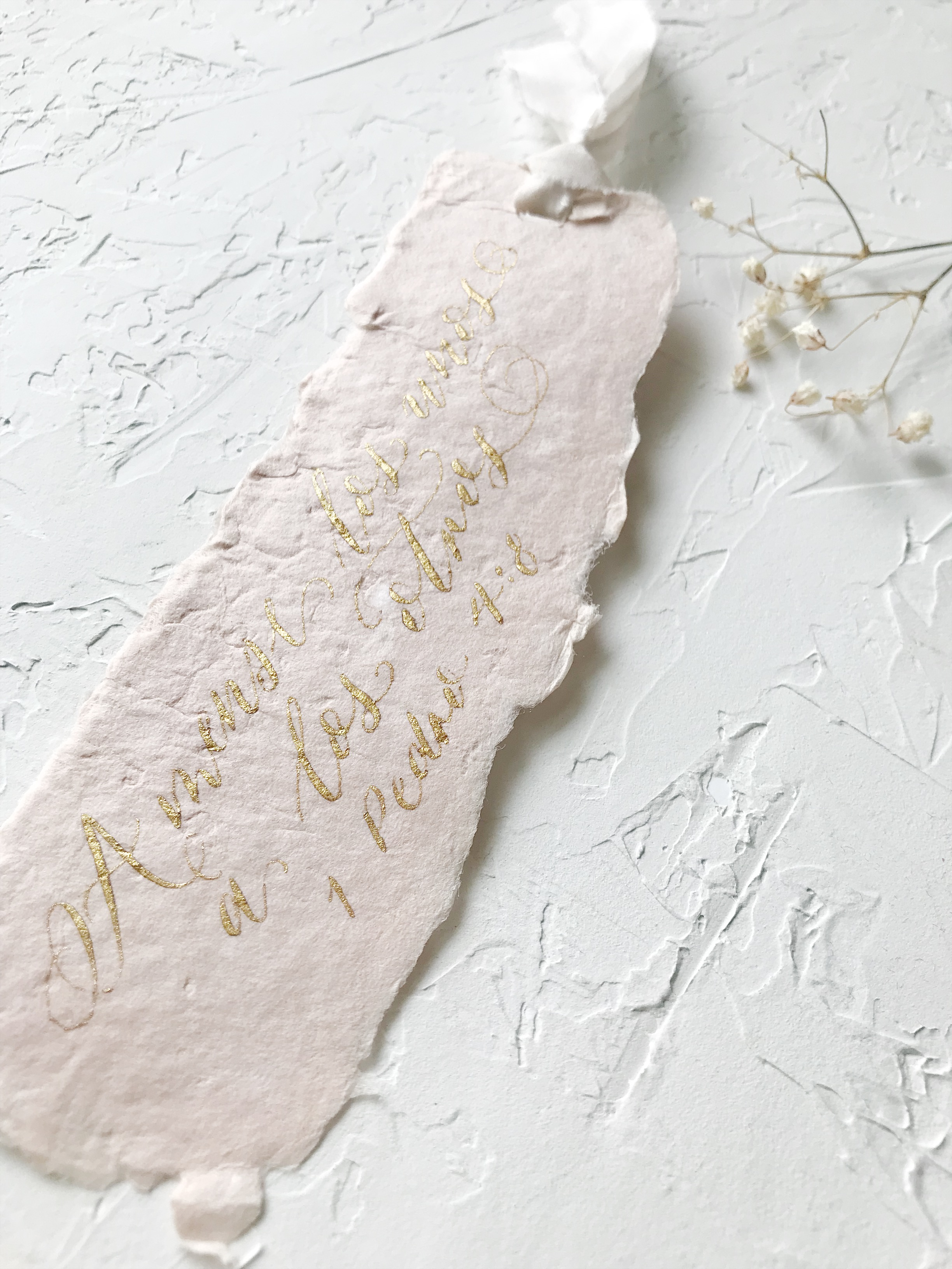 First Holy Communion Heirloom Bookmark on handmade paper. Gold Ink and Hand died Silk Ribbon - Esperanza Atelier Fine Art Calligraphy