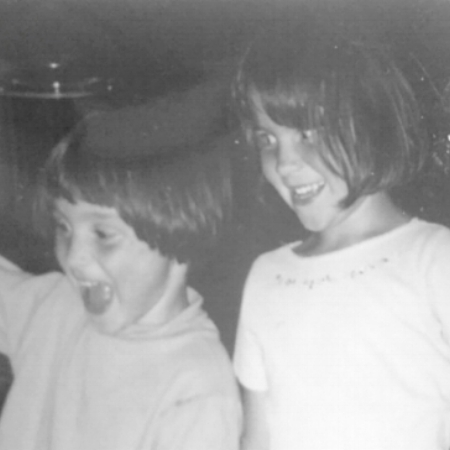 my sister, Hannah (right) and myself (left) on my fifth birthday