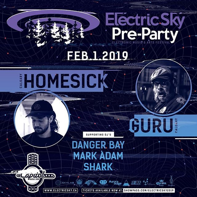 As we gear up for the 2nd Annual Electric Sky Festival in 2019 we are STOKED to announce the first of MANY pre-party's in Western Canada, this one in our home territory @ the Capitol Music Club. It's a massive YYC take-over as we bring the bass music heat from our sister city in the west straight to our front door.  With our first party of the season, we are pleased as punch to bring in 2 of the most talked about acts on our Beat Den stage from last year's event; Footwork legend HOMESICK and DnB connoisseur and showman, GURU with support from Danger Bay, Shark, and Mark Adam.  @homesiiick89  @chris_the_guru  @djwebmd  @danger.bay  @shark_master_lurker  @capitolclubyxe  @electricskyfest  #yxe #yxemusic #footwork #dnb #bass #saskmusic #es2019 #electricsky2019 #sask #skmusic