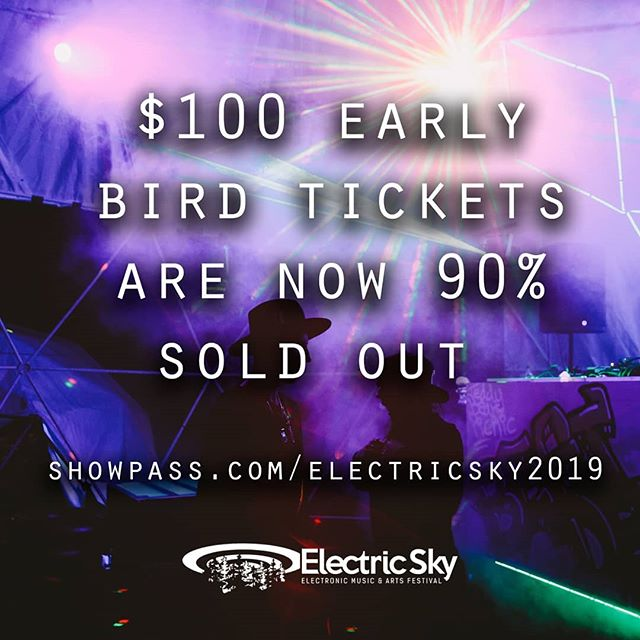 Just a quick reminder that we are now 90% sold out of our super early bird tickets. Don't sleep.  #electricsky19 #electricsky2 #es2019 #festival #raveoutfit #nesscreek #happiness #sask #yxemusic #saskmusic #saskelectronic #yxe #dj #headliner #art #workshops #bigriver #skmusic #rave #skrave #house #techno #breaks #funk #dnb #instagood#todaysoffice  Photo by: @michaelbenz