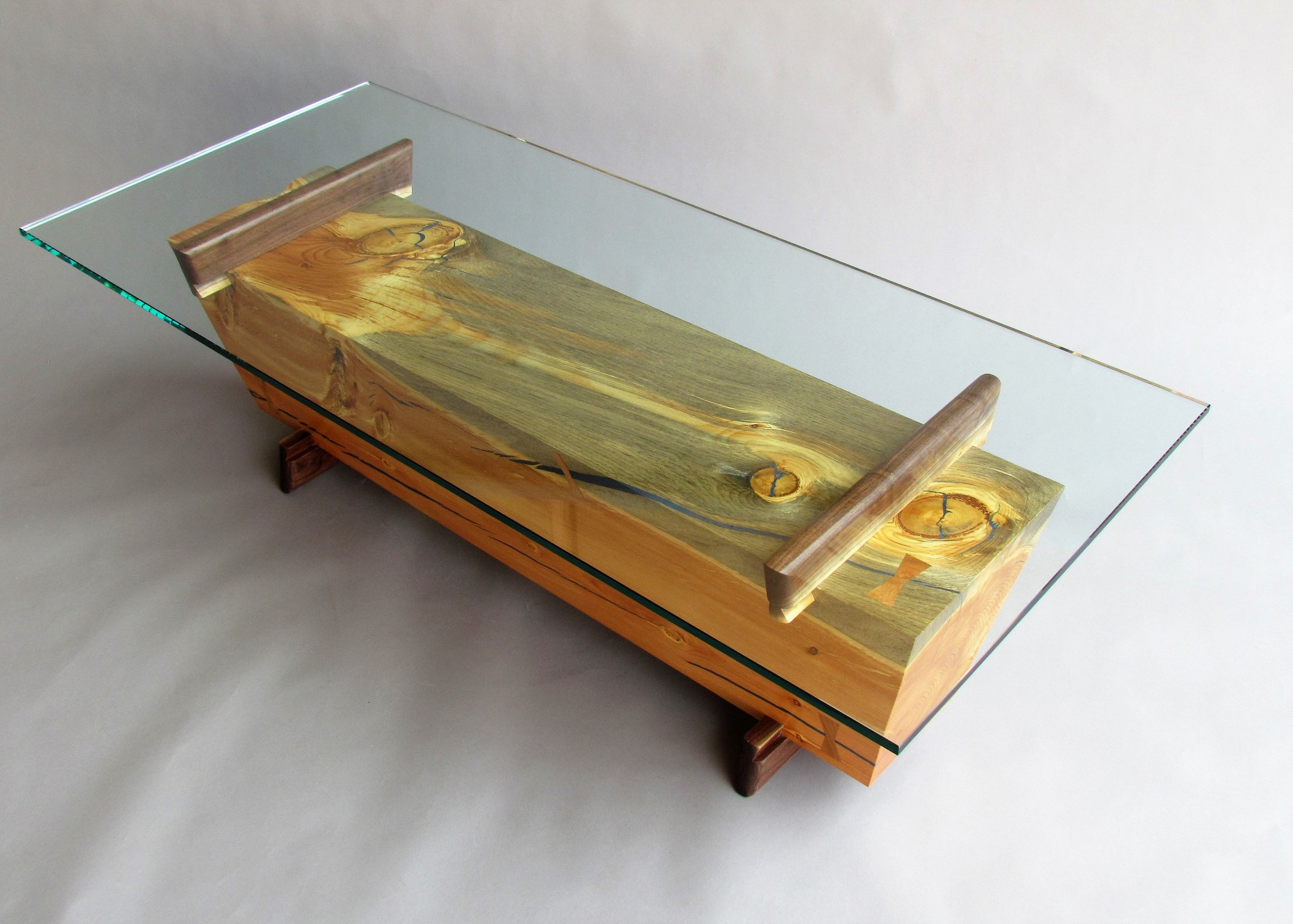 glass top beam cocktail table