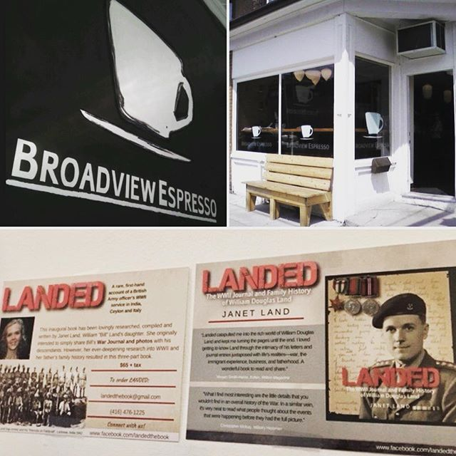 Thanks Broadview Espresso for supporting LANDED! @broadview_espresso . . . . . #WWII #worldwar2 #canadiansoldier #journal #journals #journaling #remembrance #lestweforget #neverforget #neveragain #authorsofinstagram #book #history #news #toronto #coffee #cafe #coffeeshop #localcafe #espresso #espressobar #remembranceday