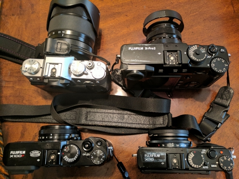 My Fujifilm lineup. When people notice they notice.