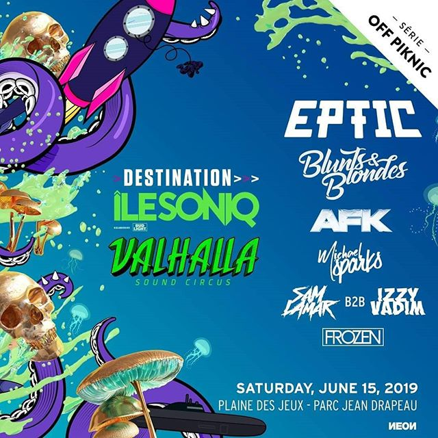 Fam!! Too excited for the summer?! 🌞 We're insanely pumped to announce this MASSIVE @ilesoniq and #valhallasoundcircus pre party collab featuring @eptic @_bluntsnblondes @afkmusic @michaelsparksofficial @samxlamar @izzyvadim and @djfrozenmtl outdoors at the beautiful @piknicmtl site on Saturday June 15! Tickets on sale tomorrow at noon! 🦑⚡🍄 P.s heard 👂 a limited quantity of $20 tickets will be reduced to $10 so move fast 🛫