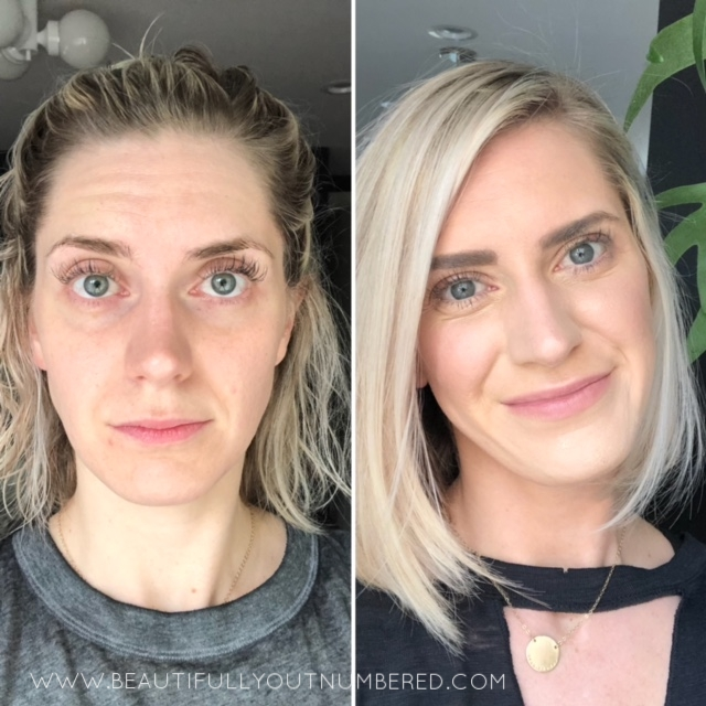 My before and after. Mango Highlight to color correct the dark circles. White Peach highlight as my all over color. Ash Contour. Nude Lip + Cheek. Dream Illuminator