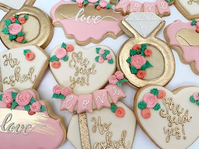 He asked, She said yes! 💗✨ How sweet is this bridal shower cookie set?!