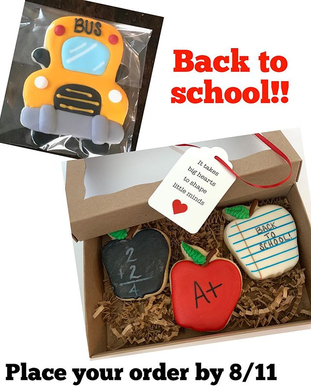 🍎It's had to believe kids will be back to school so soon!🏫✏️📚 We are offering a couple cookie options for teacher and bus drivers to help them start the year on a sweet note! 🍎🚌🍪 You can order through link in bio. Pick up will be August 14th (cookies will be good for up to 1 week if kept in air tight container or plastic wrapped). Drop us a note or an emoji to let us know you placed an order! 😊