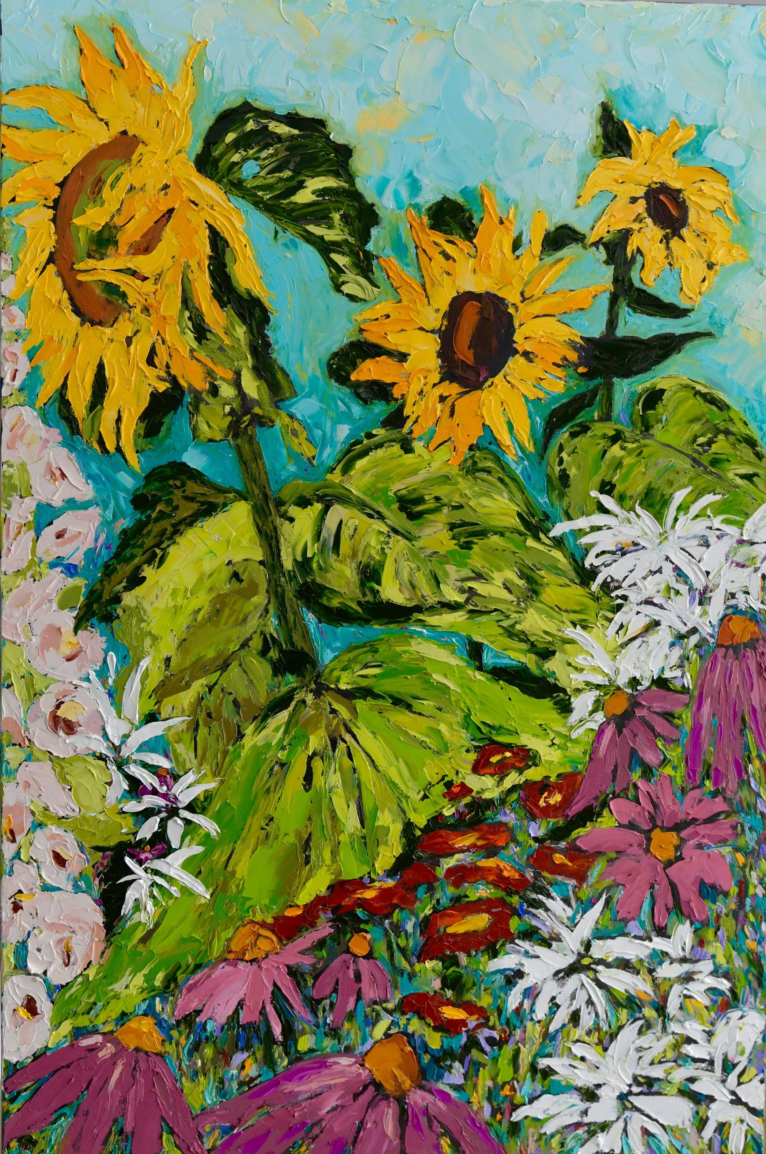Celia's Sunflowers 40h 30w Oil on Canvas $1200 Unframed