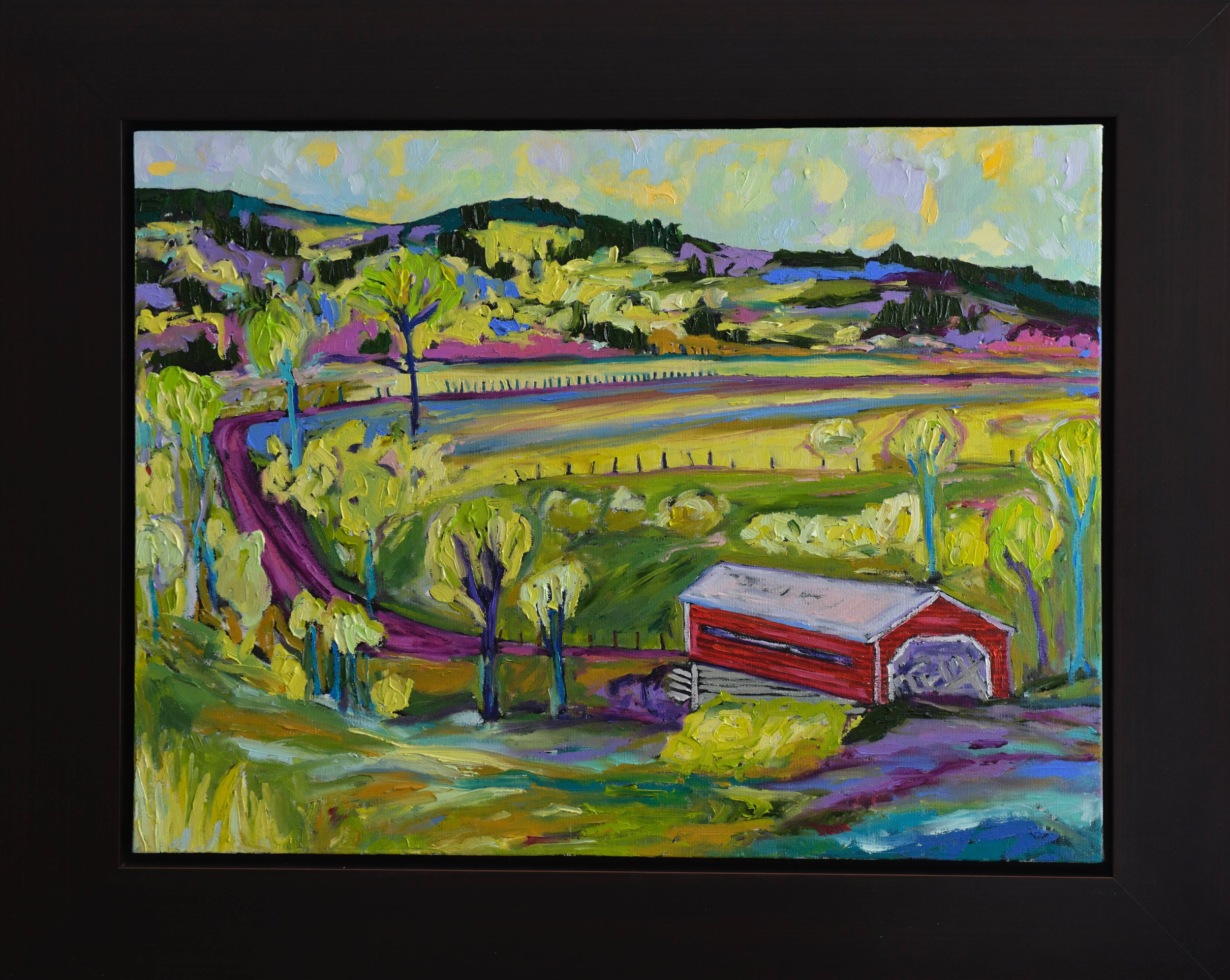 Summer Day at Red Covered Bridge in Meech Valley, Chelsea, Quebec 18h 24w Oil on Canvas $800 Framed
