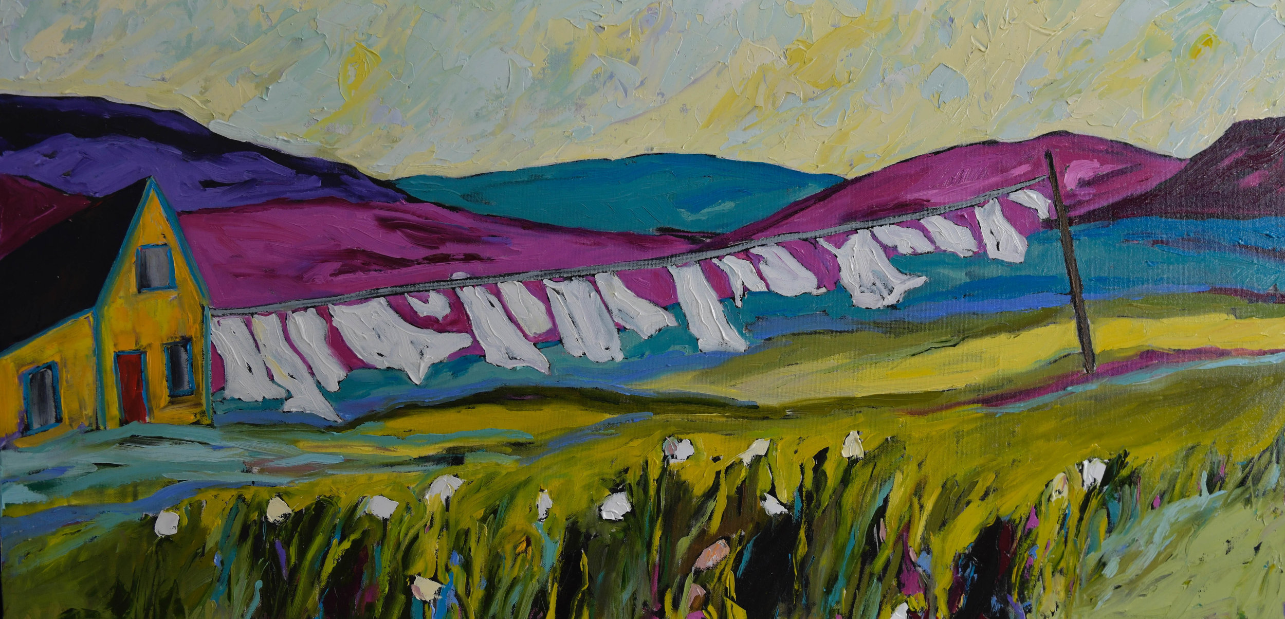 High-Flying Laundry in Low, Quebec 24h 60w Oil on Canvas $1400 Unframed