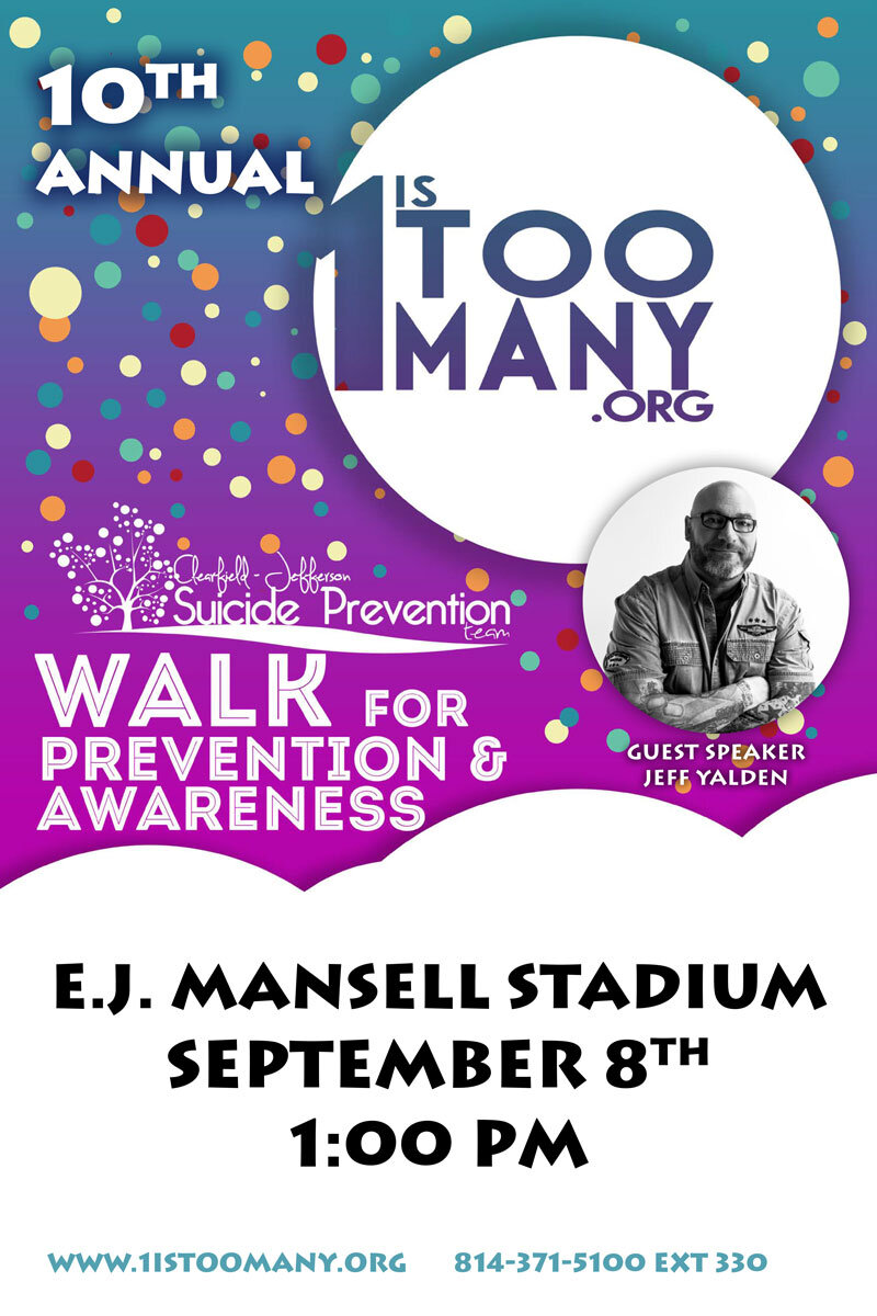 Clearfield-Jefferson 10th Annual Suicide Prevention Walk Poster
