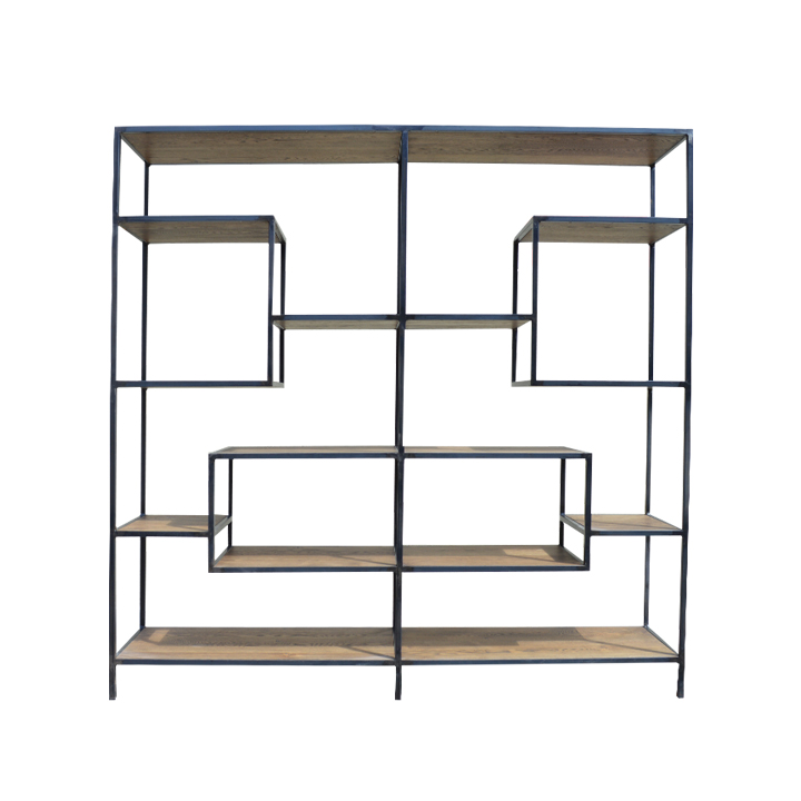 Rustic Oak and Steel Geo ShelvingUnit.jpg
