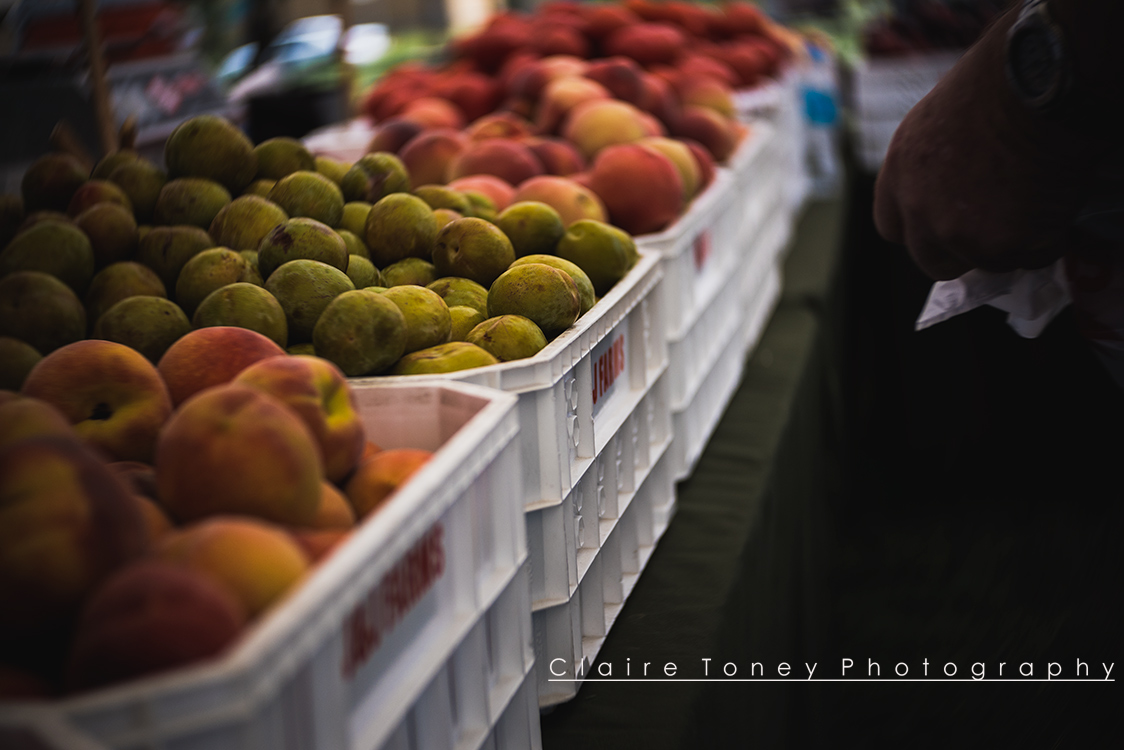 Summer fruits from J&J Ramos Farms, taken with the Lensbaby Velvet 56, at the Mather VA Hospital Farmer's Market