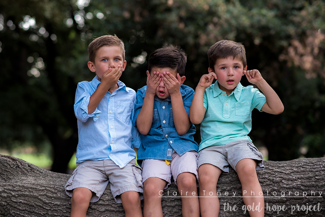 Say no evil, see no evil, hear no evil. Being mischievous is okay though ;) The Gold Hope Project photo session at the UC Davis Arboretum.