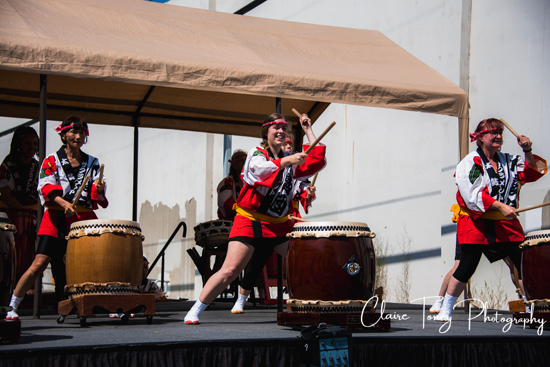 Event photography from the Sacramento Taiko Dan performance at Oto's Marketplace 50th Anniversary on September 10, 2017. This ancient Japanese art form welcomes performers from all ages, both female and male.