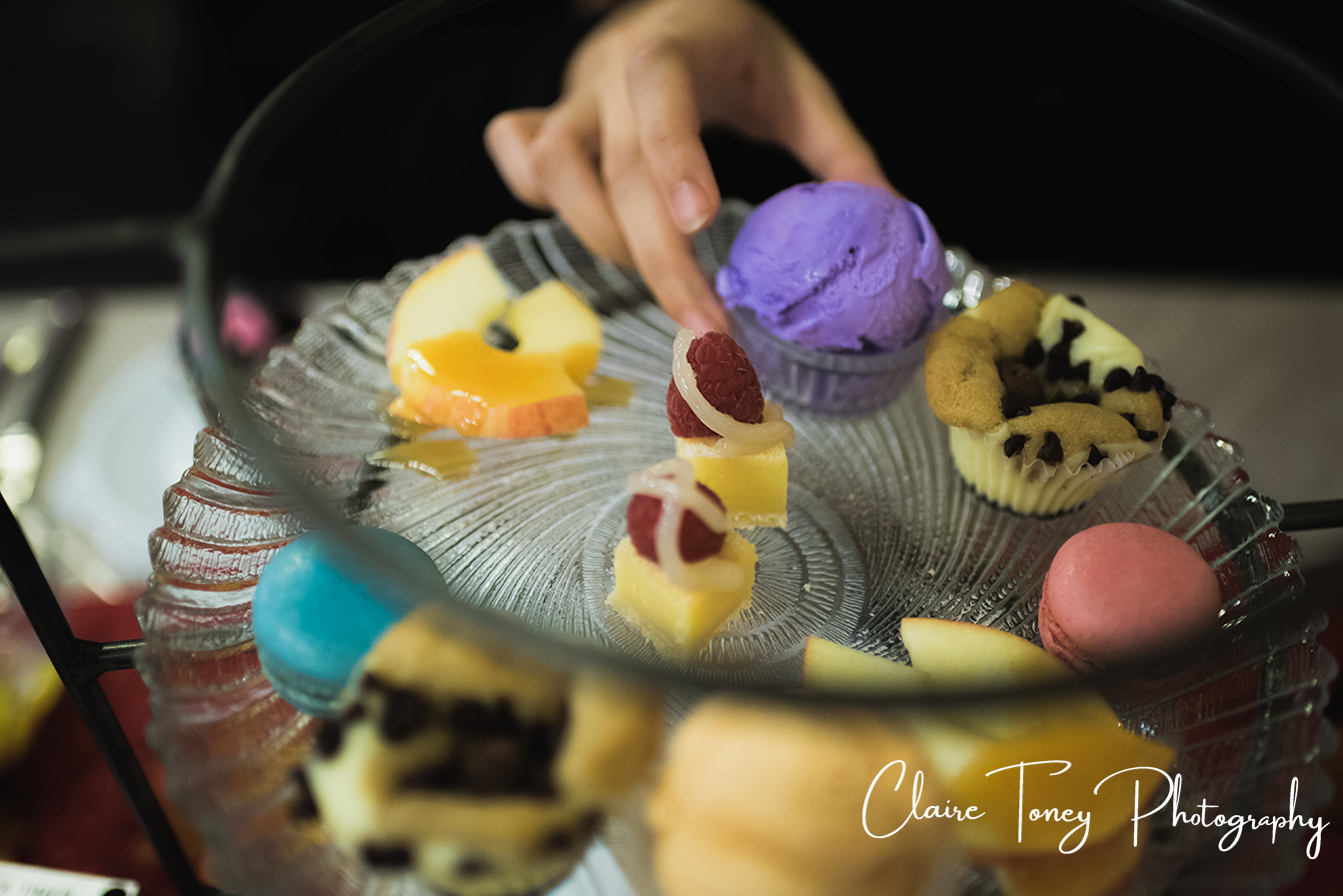 Dessert plate with Taro Ice Cream at Dash of Panache Teahouse Roseville CA Documentary Photography Claire Toney