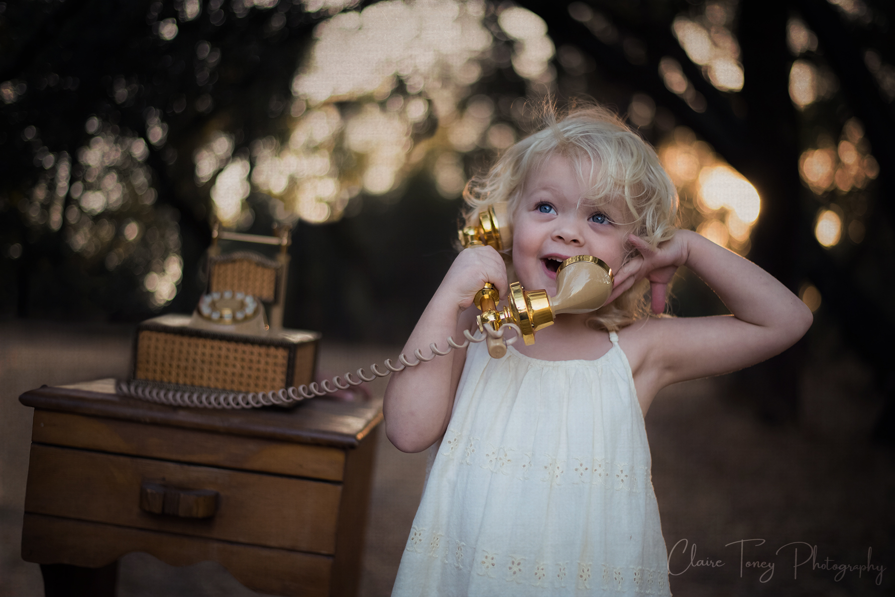 Final version of Girl on Vintage Phone at Orangevale Park photograph by Claire Toney