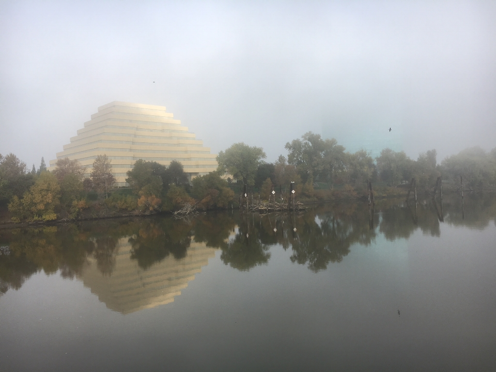 Foggy morning view of the Pyramid in Old Sacramento by the river