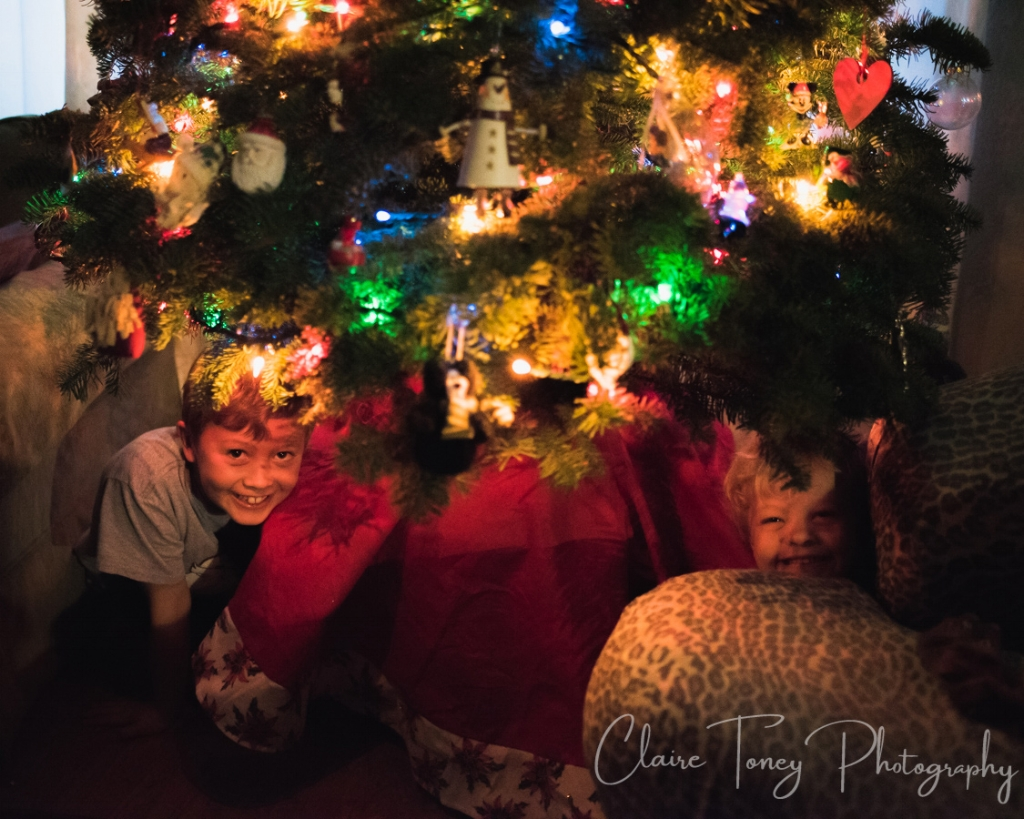 Boy and girl smiling from under a lit Christmas tree