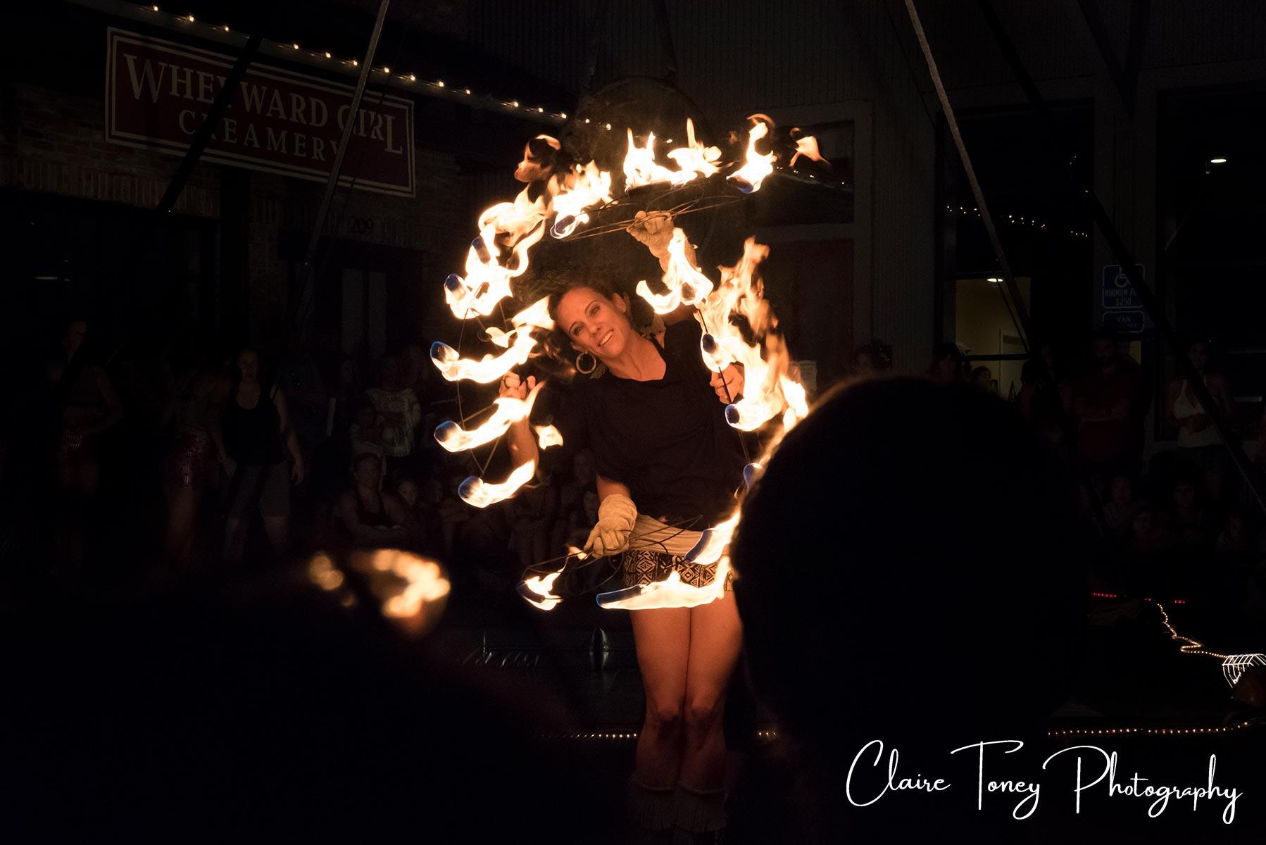 Fire artist at Nevada City Summer Nights 2017