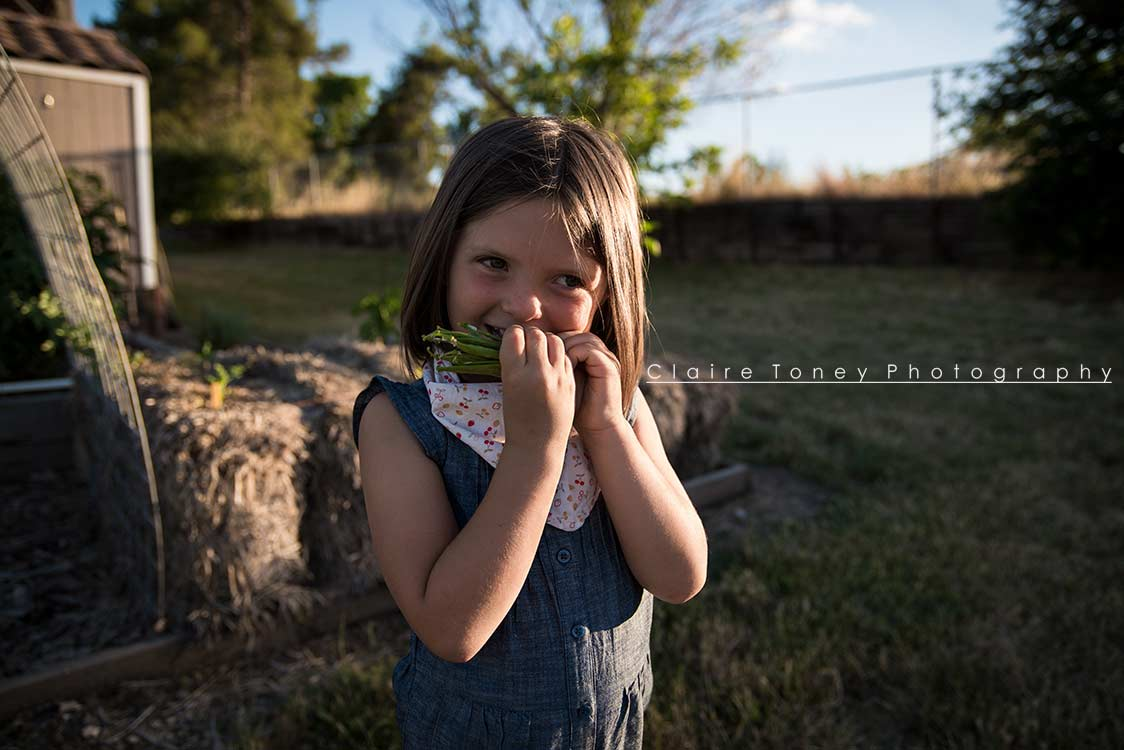 Little girl eating a bunch of peas
