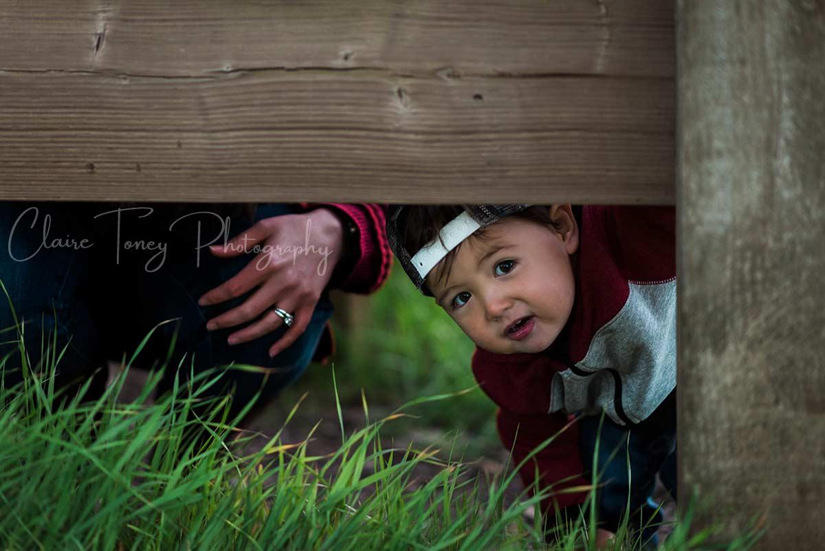 A young boy peeking under a wooden rail
