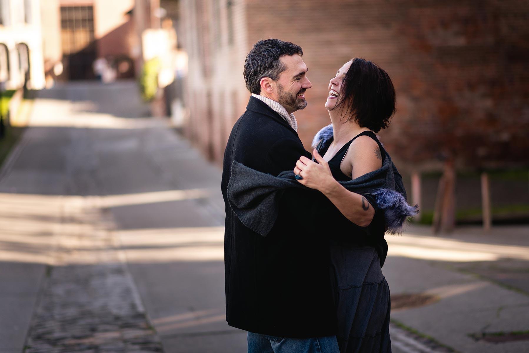 Couple photography in Old Sacramento, California