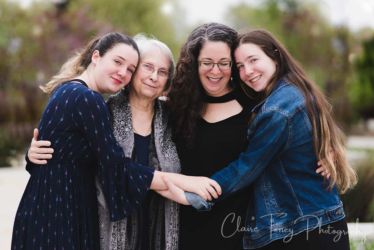 A Generation photo of Elise, her mother-in-law, and her two daughters.