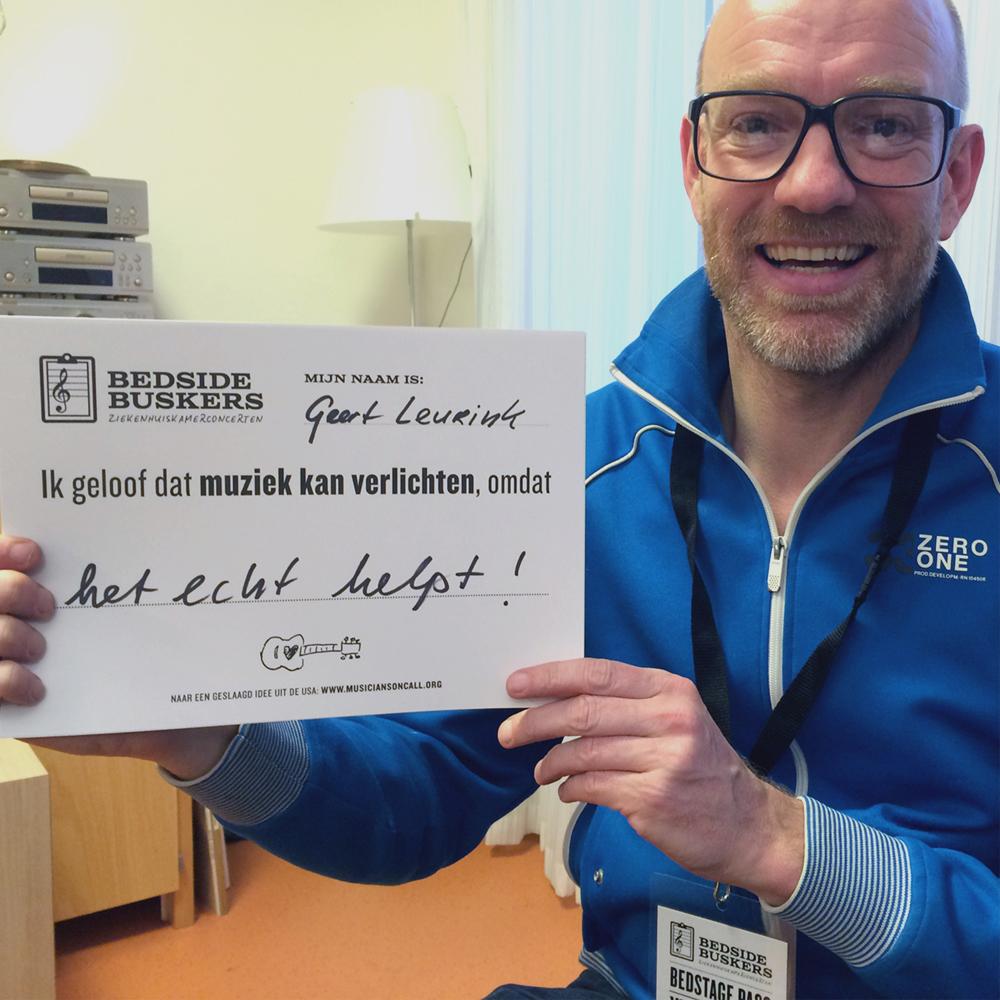GEERT LEURINK   'Ik geloof dat muziek kan verlichten, omdat het echt helpt!'