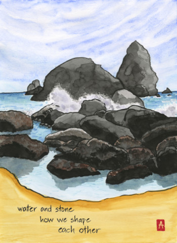 """""""water and stone"""" is 11×14, painted with sumi ink and Japanese watercolors on paper. Signed prints are available for $35. © 2015 Annette Makino"""