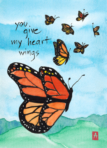 """you give my heart wings"" is 5×7, painted with sumi ink and Japanese watercolors on textured paper."