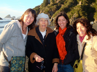L to R: Annette, Erika, Yoshi and Yuri Makino at Moonstone Beach near Arcata, California.