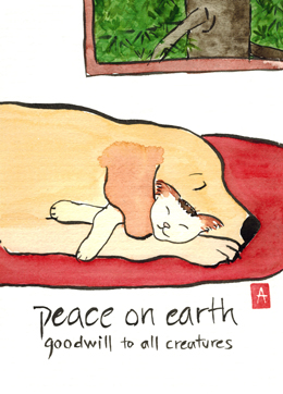 """peace on earth"" is 5×7, painted in sumi ink and Japanese watercolors on textured paper. It is also available as a print or card."