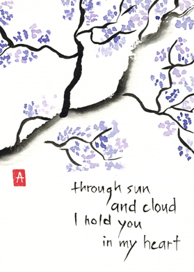 """through sun and cloud"" is 5×7, painted with sumi ink and Japanese watercolors on textured paper. It is also available as a print or card."