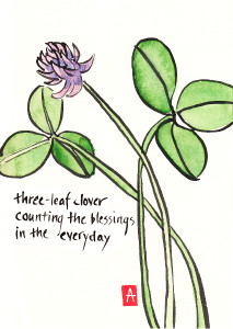 """three-leaf clover"" is 5×7, painted with sumi ink and Japanese watercolor on paper. Published on DailyHaiga (Dec. 14, 2012)."