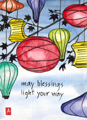 """""""may blessings"""" is 5×7, painted with sumi ink and Japanese watercolors on paper. It is available as a  card and is one page of my  2015 wall calendar . © 2014 Annette Makino"""