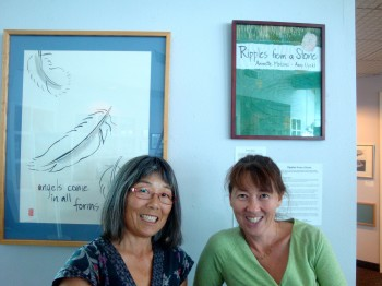 "Artists Amy Uyeki, left, and Annette Makino at their joint show, ""Ripples from a Stone,"" at the Adorni Center in Eureka, California in November 2014."