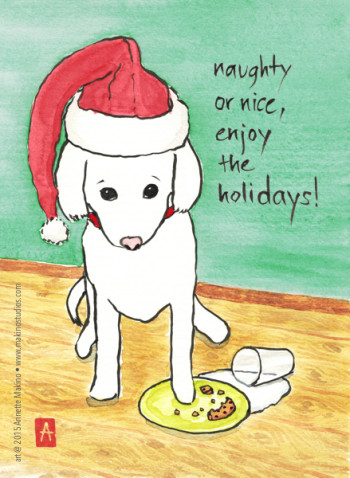 """naughty or nice""  is available as a greeting card or small matted print. © Annette Makino 2015"