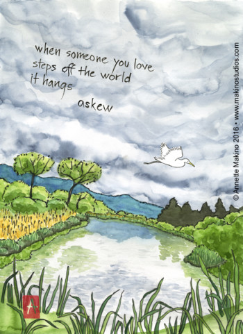 """when someone you love"" is 11×14, painted with sumi ink and Japanese watercolors on paper, and digitally edited. It is available as a  sympathy card . © Annette Makino 2016"