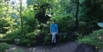 Annette Makino takes in the peaceful garden at the Nezu Museum in Tokyo.