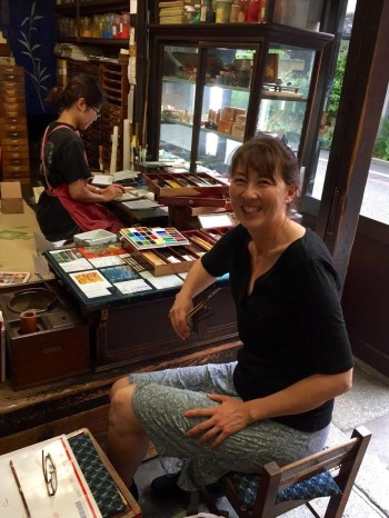 Annette Makino buys Japanese art supplies at Saiun-do in Kyoto, Japan in June 2016.