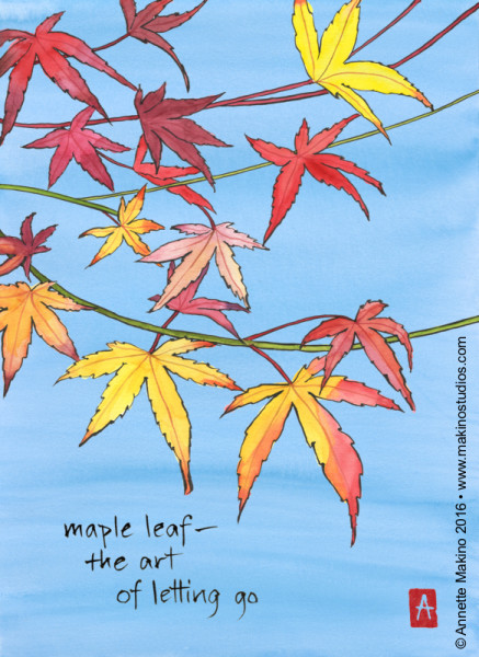 """maple leaf"" is 11×14, painted with sumi ink and Japanese watercolors on paper and digitally edited. It appears as a page of a 2017 calendar of art and haiku. © Annette Makino 2016"