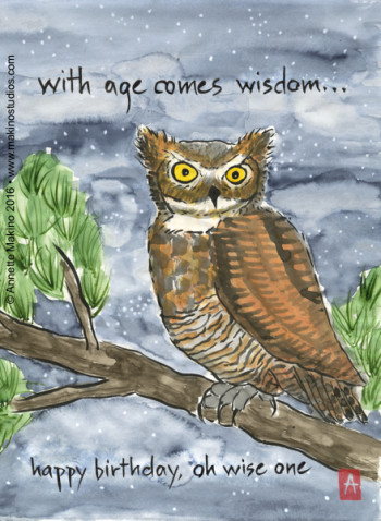 """""""with age comes wisdom"""" is 11×14, painted with sumi ink and Japanese watercolors on paper. It is available as a  birthday card . © Annette Makino 2015"""