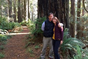Annette and Paul in Redwood National Park, California, Halloween 2017.
