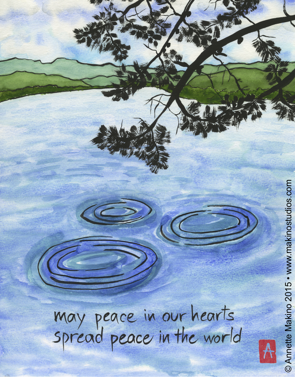 """may peace in our hearts"" is 11×14. It is also available as a single card or a set of boxed notecards. © Annette Makino 2015"
