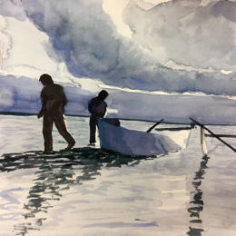 Fishermen at dawn:  We painted several 25-minute pieces in class, learning to make quick decisions about where and how to layer color.