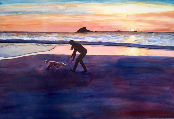 Based on a photo by my son Gabriel, the finished painting depicts my dog Misha and me playing at the beach on New Year's Day.