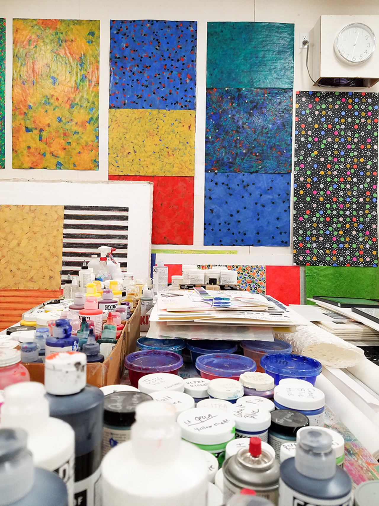 The interior of Joan Gold's dazzlingly patterned Eureka studio, where works in progress hang on the walls. Photo by Gabrielle Gopinath